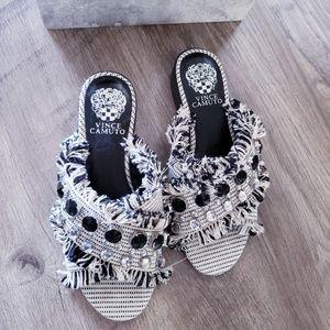 Vince Camuto Noritta Slide Sandal White Black Slip